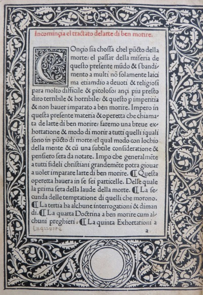 Ars moriendi (1478), with an ornamental border of acorns and leaves by Erhard Ratdolt